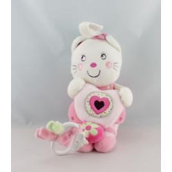 Doudou chat blanc rose coeur fleur NICOTOY