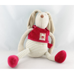 Doudou lapin beige rouge 123 lapins LINVOSGES MOULIN ROTY