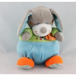 Doudou Chien gris bleu vert pois Jongleur MOTS D'ENFANTS