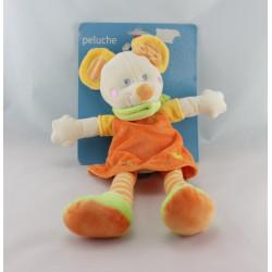 Doudou souris robe orange foulard vert MOTS D'ENFANTS