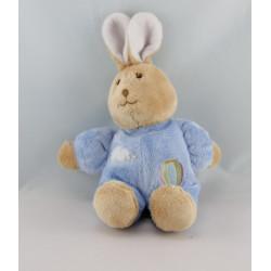 Doudou lapin blanc pull bleu nuage mongolfiere GIPSY
