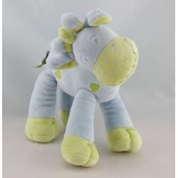 Doudou Girafe vert bleu MOTS D'ENFANTS