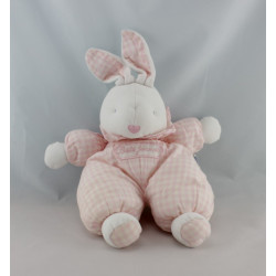 Doudou lapin rose  à carreaux BEBE JACADI