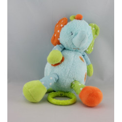 Doudou éléphant bleu orange vert BABYSUN ORCHESTRA
