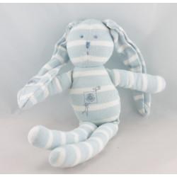 Doudou lapin blanc rayé gris bleu PETIT BATEAU