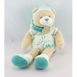 Doudou ours Bibou bleu turquoise DOUDOU ET COMPAGNIE