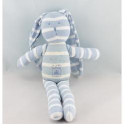Doudou lapin blanc rayé bleu PETIT BATEAU
