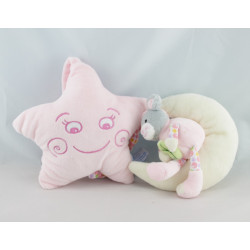 Doudou musical étoile chat rose sur lune GIPSY