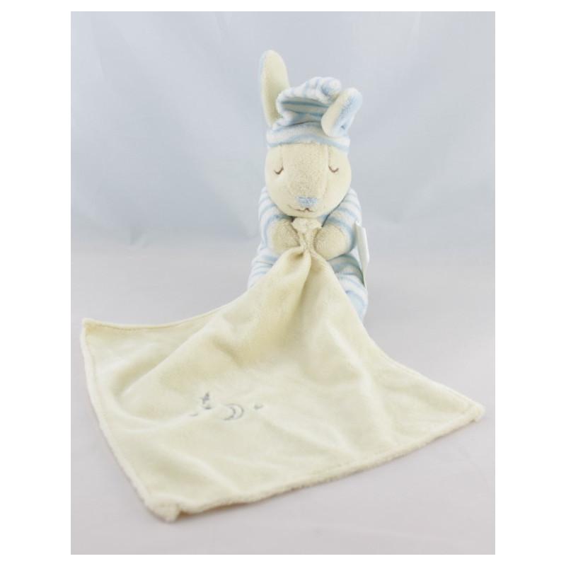 Doudou lapin rayé bleu avec mouchoir KIMBALOO
