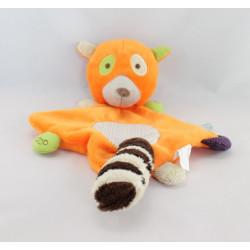 Doudou plat ours panda orange jaune TOODO