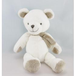 Doudou ours blanc beige nez gris NICOTOY