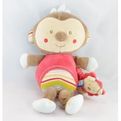 Doudou singe gris rouge vichy vert SUCRE D'ORGE