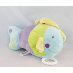 Doudou hochet poisson violet vert bleu BABY SUN