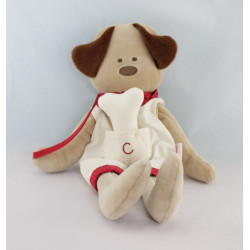 Doudou chien beige blanc foulard rouge os COROLLE