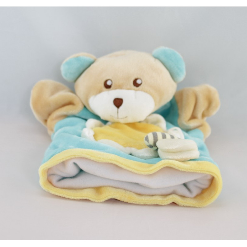 Doudou ours beige pull bleu fleur AJENA