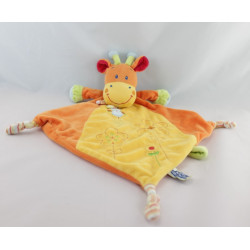 Doudou plat girafe orange jaune rayures NICOTOY