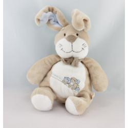 Doudou lapin beige bleu train Oscar NOUKIE'S