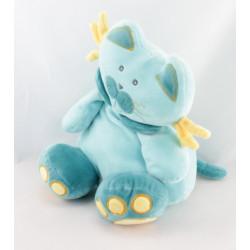 Doudou lutin chat bleu rose mauve NOUNOURS