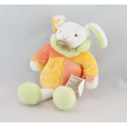 Doudou lapin blanc jaune orange attache tétine BABY NAT