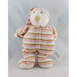 Doudou ours blanc pyjama rayé rose HAPPY HORSE