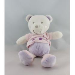 Doudou ours rose mauve blanc coeur fleurs PREMAMAN
