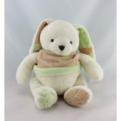 Doudou lapin blanc beige vert BABY NAT