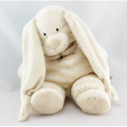 Doudou lapin écru beige rayé NICOTOY