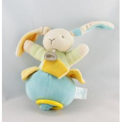 Doudou musical Lapin bleu vert jaune Baby nat