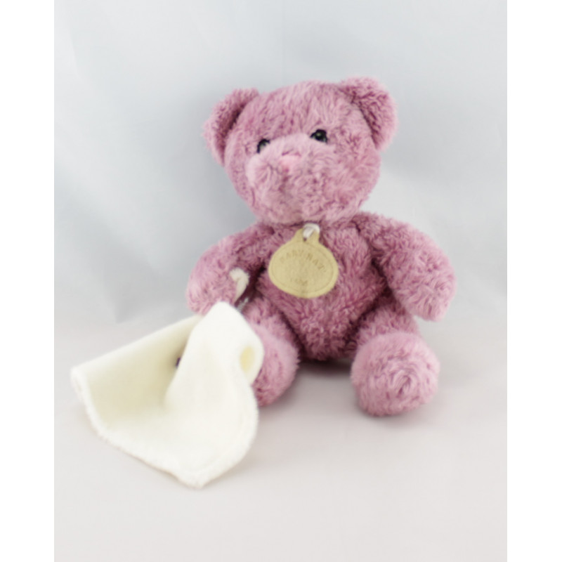 Doudou ours rose prune avec mouchoir BABY NAT