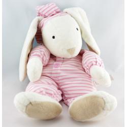 Doudou lapin pyjama rayures rose COROLLE