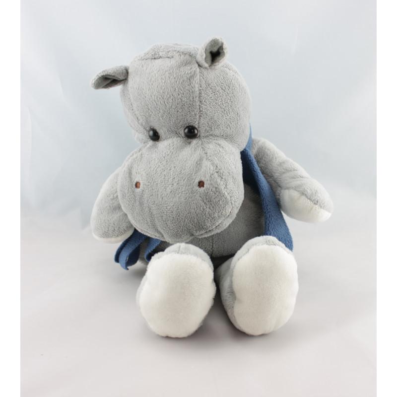 Doudou marionnette hippopotame gris écharpe bleu BAMBIA