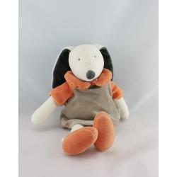 Doudou chien blanc beige orange Les Trois Ours MRSA
