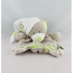 Doudou plat ours beige vert blanc BABY NAT