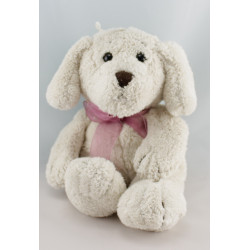 Doudou chien blanc créme noeud rose GIPSY