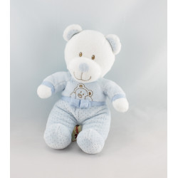Doudou ours bleu pois papillon brodé NICOTOY