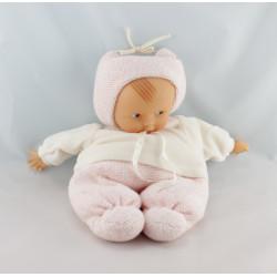 Doudou bébé poupée Baby Pouce laine rose pull blanc COROLLE 2001
