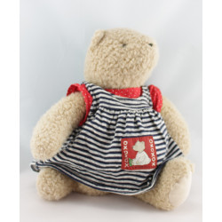 Doudou ours beige robe rayé bleu pull rouge CATIMINI