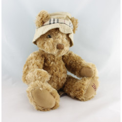 Peluche ours beige chapeau beige carreaux BURBERRY