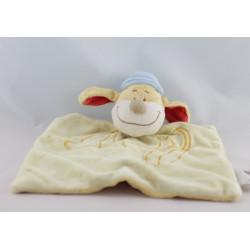 Doudou plat chien jaune chapeau bleu Gaston BENGY NEUF