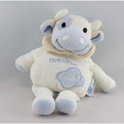 Doudou Vache Meuh ! blanc bleu EVEIL ET TENDRESSE