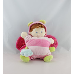 Doudou semi plat fillette déguisé en papillon rose NICOTOY
