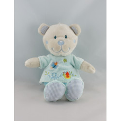Doudou ours blanc bleu papillon TEX BABY