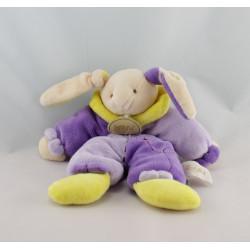 Doudou pantin lapin violet mauve jaune NAT