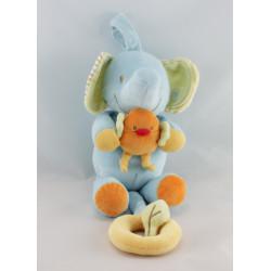 Doudou  musical éléphant bleu BEBEREVE