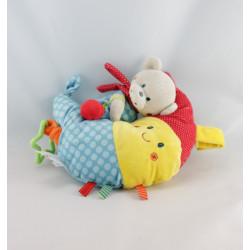 Doudou musical ours sur lune bleu jaune rouge NICOTOY