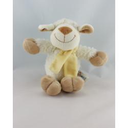 Doudou mouton blanc écharpe jaune PLUSHIES COLLECTION