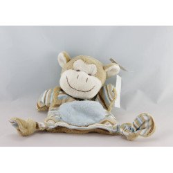 Doudou plat marionnette singe beige rayé bleu