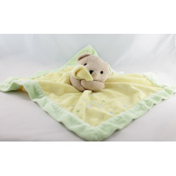 Doudou plat ours jaune vert satin  JUST ONE YEAR