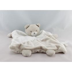 Doudou plat ours blanc gris beige étoiles KIMBALOO