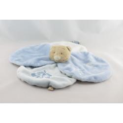 Doudou plat fleur ours bleu blanc NOUKIE'S